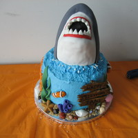 Shark Cake  This was fun to do! Shark is RKT covered in fondant with gumpaste teeth. The fish and ocean stuff are made from fondant, sign from gumpaste...