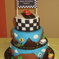 Lightning Mcqueen Inspired by lots of cool cakes here on CC. My first big tiered cake- special thanks to those who answered my questions along the way!...