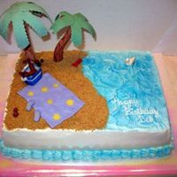 Beach Cake All details made out of gumpaste and MMF. Sand is crushed graham crackers.