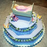 Baby Shower Cake Buttercream icing, royal icing flowers and butterflies, white chocolate crib, MMF stuffed animals and baby.