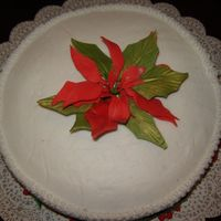 Poinsettia Cake   Did this for a wedding anniversary. Buttercream icing with poinsettia and holly made from fondant/gumpaste.