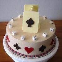 Casino Cake I made this for a 50th birthday party for a guy who loves to play cards. Dice are white fondant, and the other decorations are tempered,...
