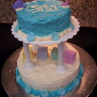 Julie's Baby Shower I did this cake for a co-workers' Baby Shower Party today.Red Velvet Cake (from scratch!), with cream cheese frosting. Buttons done...