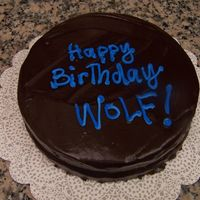 "Birthday Cake Here is a picture of the cake I made for a friend's (who goes by the name ""Wolf"") birthday. It was a devils food cake..."