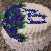 Shannon's B-Day Cake I I love basketweave (lol)!Royal Icing Flowers, buttercream frosting and chcolate cake.