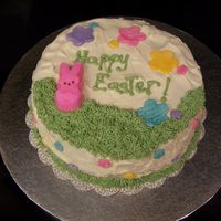 "Easter Cake My son wanted me to use his ideas on this cake. Chocolate cake with vanilla frosting. ""Grass"" with bunny Peep, and MMF flower cut..."