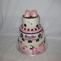 Baby Shower Cake Buttercream with fondant/gumpaste accents. Gumpaste booties - thanks for the great template I got here are CC!!! Name done with my new...