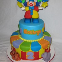 Circus Cake Buttercream with fondant accents. Clown is fondant. Animals are toys.