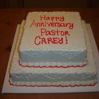 Pastor's Anniversary For a Pastor's 25th Anniversary at a local church. They chose red since it was around Valentine's Day. All Buttercream.