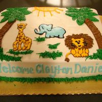 Jungle Themed Baby Shower All they told me was jungle theme, so this is what I came up with. She said it matched everything great! Elephant, Giraffe and Lion where...