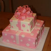 Square Pink And White 10 & 6 in. french vanilla with bavarian cream filling, buttercream with fondant accents and bow. I baked all round cakes and clicked to...