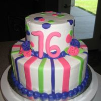Sweet 16 6 and 10in BC with fondant and gumpaste accents