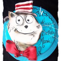 Cat In The Hat A cake I did for another friends sons birthday. Fondant icing, hand painted and shaded