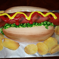 Hot Dog Super Bowl Cake Made for our Super Bowl party, all pieces are of gum paste