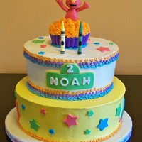 "Surprise Elmo   Fondant accents on buttercream - complete with Elmo's ""crayon"" scribbles. Crayons are candles. TFL!"