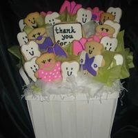 Thank You Bouquet For Dentist Office Sugar cookies with royal icing. This was a thank you from one dentist office to another dentist.