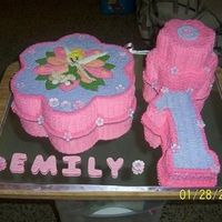 "Tinkerbell 1st Birthday cake, including #1, 8""x3"" petal cake, 6""x3"" petal cake on top and a 15""x3"" petal cake with..."