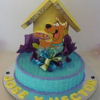 "Scooby Doo Cake This was a very simple Birthday Cake for two brothers, 14""x3"" with foam a topper. . Names are made with ""pastillaje""..."