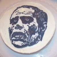 Zombie Cake A cake with my boyfriend's favorite zombie on it, Bub from Day of the Dead