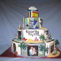 Places We Have Been I did this cake for my husband for our wedding. It was a surprise...it is everywhere that we have been and the top flags and cruise ship...