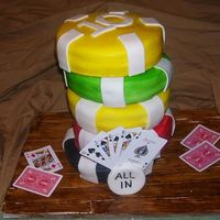 "Poker Chips  This is a set of poker chips I did for a friends birthday. It's 5 - 8"" cakes stacked individually, I secured a PVC pipe to the..."