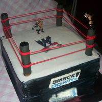 Wwe Smackdown Wrestling ring for birthday, customer supplied wrestling figures which wound up a little bit smaller than the cake. :)