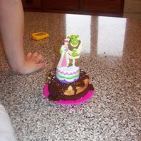 Shrek And Fiona my granddaughters first wedding cake with her easy bake oven. shes 4. they usually dont even make it this far before they get eaten. this...