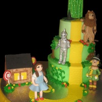 Charis's Wizard Of Oz Cake  I made this cake for my granddaughters 4th birthday Oct. 31. It is a 10in, 8in, & 6in. cakes. The figures are made from gumpaste/...