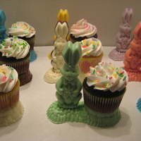Adeana's 1St. Grade Easter Cupcakes I made these for my grand daughters 1st. grade Easter party. The bunnies & holders are made from a Wilton candy mold. I thought it...