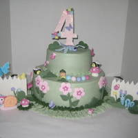 Shay's 4Th Birthday I made this cake for my best friend's grand daughter. It is a 10in. & 6in. iced in BC with fondant decorations. All the little...