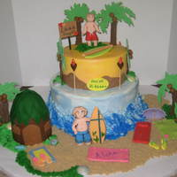 Here We Come Hawaii!  Thiscake was for 2 brothers, who wanted a Hawiian theme cake for their birthday, because they will be going there in a few days. Iced in...