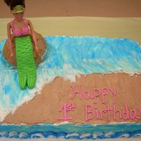 Mermaid Cake   This is the second mermaid cake I've done. They were both so much fun to do. Both used buttercream with fondant accents.