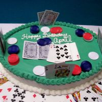 Texas Hold'em Cake I made this cake for my daughters friend for her B-day. It is iced in BC. The cards and the poker chips are real