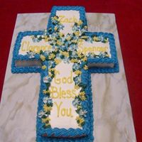 Confirmation Cake This was a cake that I made for a 3 boys being confirmed at my moms church. It is a white cake iced in BC. Didn't have the wilton...