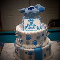 Anndi's Blues Clues Cake This is a cake that I had to come up with at the last minute for the niece of my manager at the store that I work at. The cake is iced in...