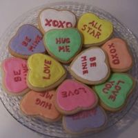 Conversation Heart/sweetheart Cookies I mad these cookies for my sons' Valentine's Day parties at their school. I had a lot of fun making them:) They are supposed to...