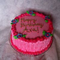 Simple B-Day Cake For My Daughter Just a simple pink, girly cake I made for my DD's 4th b-day. Strawberry cake with strawberry filling & buttercream icing.
