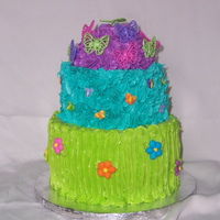 Vibrant Spring Buttercream Cake my daughter's 6th birthday cake.