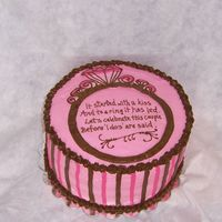 Pink & Brown Engagement Ring Cake For Bridal Shower This design was based on the invitations/tableware for the shower. French vanilla cake with raspberry filling, buttercream icing.