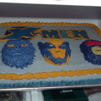 X-Men used a mini spiderman cake pan for the faces. Buttercream icing