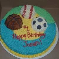 Sports Cake Seen cake very similar to this on cake central. Thank you for the idea! Buttercream icing with mini ball pan balls.