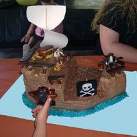 Pirate Ship Buttercream icing with tootsie roll and chocolate rails