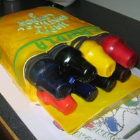 Pack Of Crayons cake, fondant and tips of crayons are ice cream cones covered in fondant