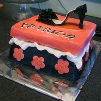 Shoe Box With Shoe gumpaste shoe, fondant decorations, covered in BC
