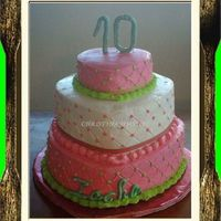Pink & Green Color scheme chosen by the birthday girl. BC with gumpaste letters and numbers.