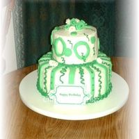 "Green 6"" & 10"". Buttercream icing with fondant details. Inspired by another cake on CC but I could not find the original designer..."