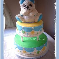 "Teddy Bear Baby Shower Cake Teddy Bear cake is strawberry pound cake. 10"" Banana Nut Cake, 14"" Chocolate Buttermilk cake. BC with fondant accents...."