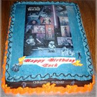 Star Wars My great-nephew's birthday cake. He absolutely LOVES Star Wars. The kids at the party fought over who got a slice of which picture, I...