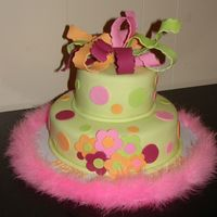 Pretty Polkadot Cake covered in MMF with different size round cutouts, different size blossom cutouts. Wacky bow and added boa to finish off trim.
