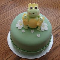 Mama Frog And Her Twin Babies MMf covered with sculpted Queen frog holding twin boy babies. Border is wave cut with abc border using italic alpha press.